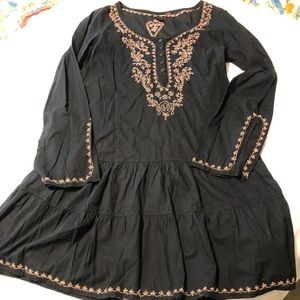 Lucky brand black sheer cotton dress